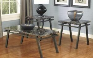 Coffee Table Set with Mable Top - 3 pc - Gun Metal Grey Gun Metal Grey