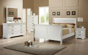 Sleigh Bedroom Set 8 pc - White King / White / Solid Wood