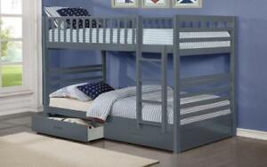 *** BRAND NEW *** HUGE SALE *** BUNK BED - TWIN OVER TWIN WITH 2 DRAWERS SOLID WOOD - GREY***LIMITED STOCK****
