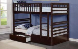 *** BRAND NEW *** HUGE SALE *** BUNK BED - TWIN OVER TWIN WITH 2 DRAWERS SOLID WOOD - ESPRESSO***LIMITED STOCK****