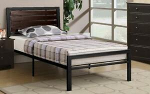 Platform Metal Bed with Wood Panels - Black Queen / Black / Metal & Wood