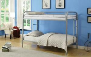 Bunk Bed - Twin over Twin with Metal - Black | White | Grey | Blue | Red Grey Canada Preview