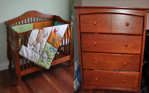 Solid wood crib 2 in 1 with dresser