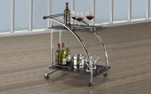 Bar Serving Cart - Chrome | Wood Bar Serving Cart - Chrome / Chrome | Wood