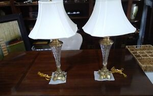 2 really nice luxury brass and crystal lamps(real Lamps)