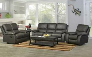Recliner Set - 3 Piece with Genuine Leather - Espresso 3 pc Set / Espresso