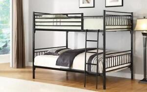 Bunk Bed - Twin over Twin with Metal - Grey | White | Black Black