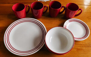 RED AND WHITE CORELL DISHES