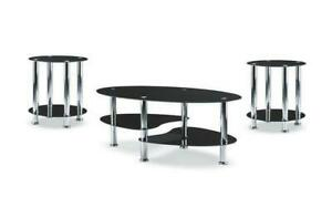 Coffee Table Set with Glass Top - 3 pc - Chrome | Black 3 pc Set / Chrome | Black