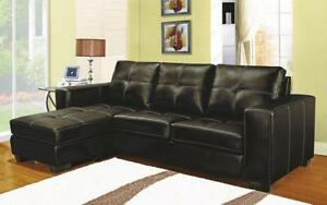Leather Sectional with Reversible Chaise - Espresso Espresso