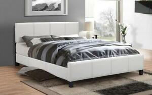 Platform Bed Bonded Leather with Adjustable Height - White Queen / White / Bonded Leather