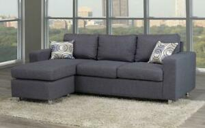 Linen Sectional with Reversible Chaise - Grey Grey Canada Preview