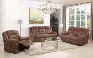 Recliner Set - 3 Piece - High Tech Fabric [Light Brown] 3 pc Set / Light Brown