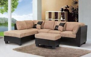 Fabric Sectional Set with Reversible Chaise and Ottoman - Taupe   Brown Taupe   Brown