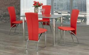 Kitchen Set with Glass Top - 5 pc - Black | White | Red 5 pc Set / Red