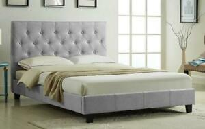 Platform Bed with Button-Tufted Fabric - Grey | Charcoal Queen / Grey / Linen Style Fabric