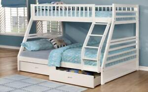 Bunk Bed - Twin over Double with 2 Drawers Solid Wood - White White