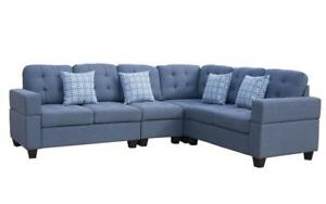 Fabric Sectional with Reversible Loveseat - Blue | Grey Blue