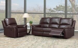 Recliner Set - 3 Piece - Bonded Leather [Brown] 3 pc Set / Brown