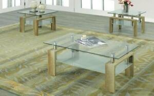 Coffee Table Set with Glass Top with Shelf - 3 pc - Reclaimed Wood 3 pc Set / Reclaimed Wood