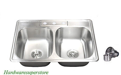 "33"" x 22"" Topmount Drop In Stainless Steel Kitchen Sinks 50/50 Double Bowl"