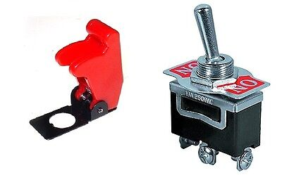 Spdt On-on 3p Medduty Toggle Switch 20amps-125v Red Flip Cover St9166-5015