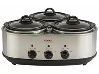 Cooks Professional 3 Pot Slow Cooker NEW/SEALED