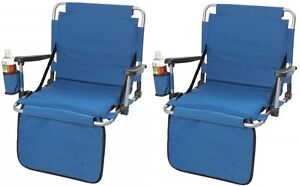 Set of (2) Blue Stadium/Bleacher Seat Cushion w/ Cupholder, Back Rest & Arm Rest