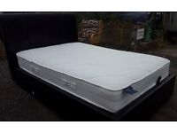 Beautiful Dark Brown Leather Big Double Bed With Top Quality Mattress.
