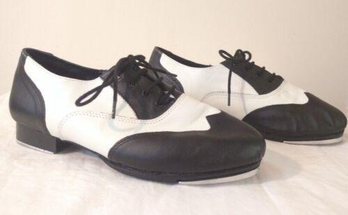 Danshuz Womens Black White Saddle Style Tap Dance Shoes Size 12W 12 Wide