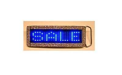 Blue Digital Led Scrolling Belt Buckle Rhinestone Sign