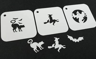 #3.2 Set of 3pcs HALLOWEEN Reusable Stencil Witch Broom Cat Bat Ghost Face Paint