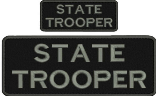 state trooper embroidery patches 4x10 and 2x5 hook grey