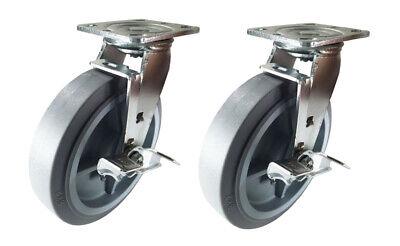 2 Heavy Duty Caster 4 5 6 8 Non-marking Rubber Rigid Brake Swivel Total Lock