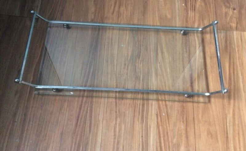 Vintage  Glass & Chrome Rectangular Footed  Vanity Valet Tray with handles