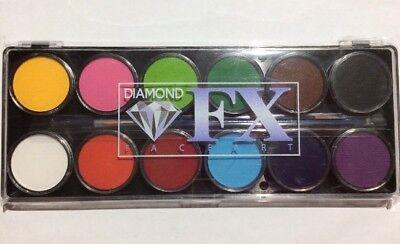 Diamond FX Face Paint Palette FSM12-R 12 Color 10 Gm 2 Brushes