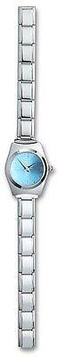 Ladies Italian Charm Wrist Watch Blue Stainless Steel Bracelet Free Shipping