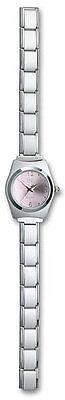 Italian Charm Wrist Watch Pink 9 mm Stainless Steel Modular Link Bracelet Gifts