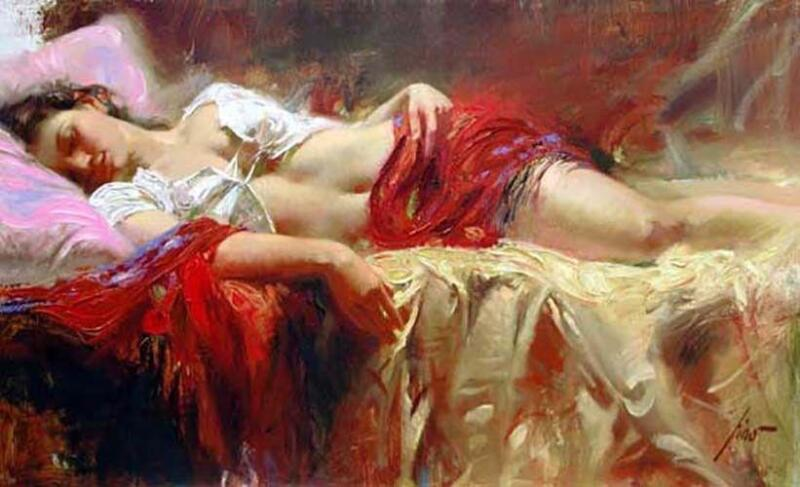 """Pino """"restful"""" Hand Signed/# Embellished Giclee On Canvas W/coa Size 12x20"""