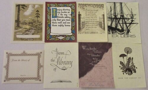 LOT 8 VINTAGE BOOKPLATES~TALL SHIP~NATURE SCENE~DANDELIONS~BOOK RHYMES