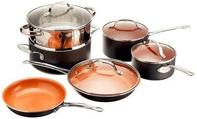 Gotham Steel 10-Piece Complete Kitchen Nonstick Copper Pan & Cookware Set - NEW!
