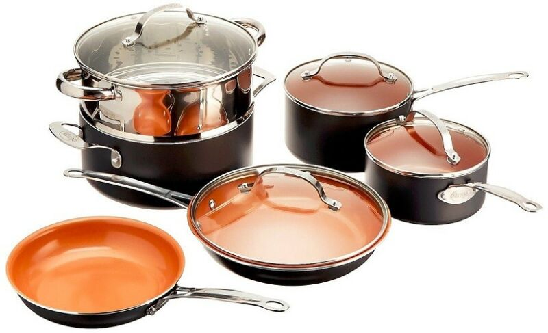 Gotham Steel 10-Piece Complete Kitchen Nonstick Copper Pan & Cookware Set - NEW! 1