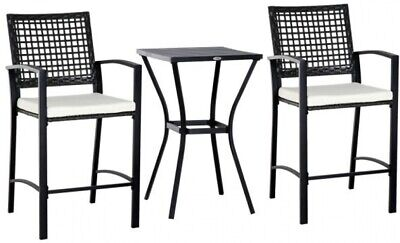 Outsunny 3 Piece Outdoor Classic Bar Style Patio Rattan Bist
