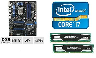 INTEL I7 3770K QUAD CORE X4 CPU P67 MOTHERBOARD 32GB DDR3 MEMORY RAM COMBO KIT