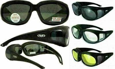 Padded Anti Fog Motorcycle Sun Glasses FIT OVER PRESCRIPTION RX GLASSES (Prescription Motorcycle Sunglasses For Men)