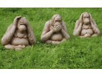 3 Wise Monkeys Garden Ornament No Evil See Speak HearOrangutan Statues