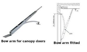 Bow arm conversion kit for use when automating canopy up & over Garage Door