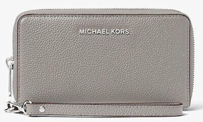 Michael Kors Pebbled Leather Smartphone Wristlet Purse Wallet - Pearl Grey