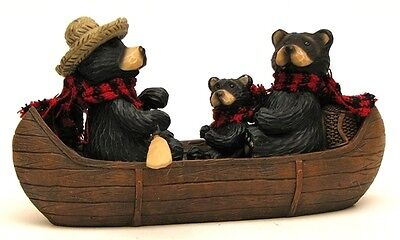 Resin Bear Family  Fishing In Canoe Figurine  Animal Collectible Cabin  Decor