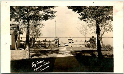 "Spirit Lake, Iowa RPPC Real Photo Postcard ""Log Cabin"" Lake View c1940s Unused"